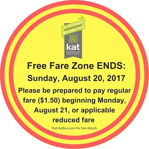 Free Fare Zone ends on August 20th