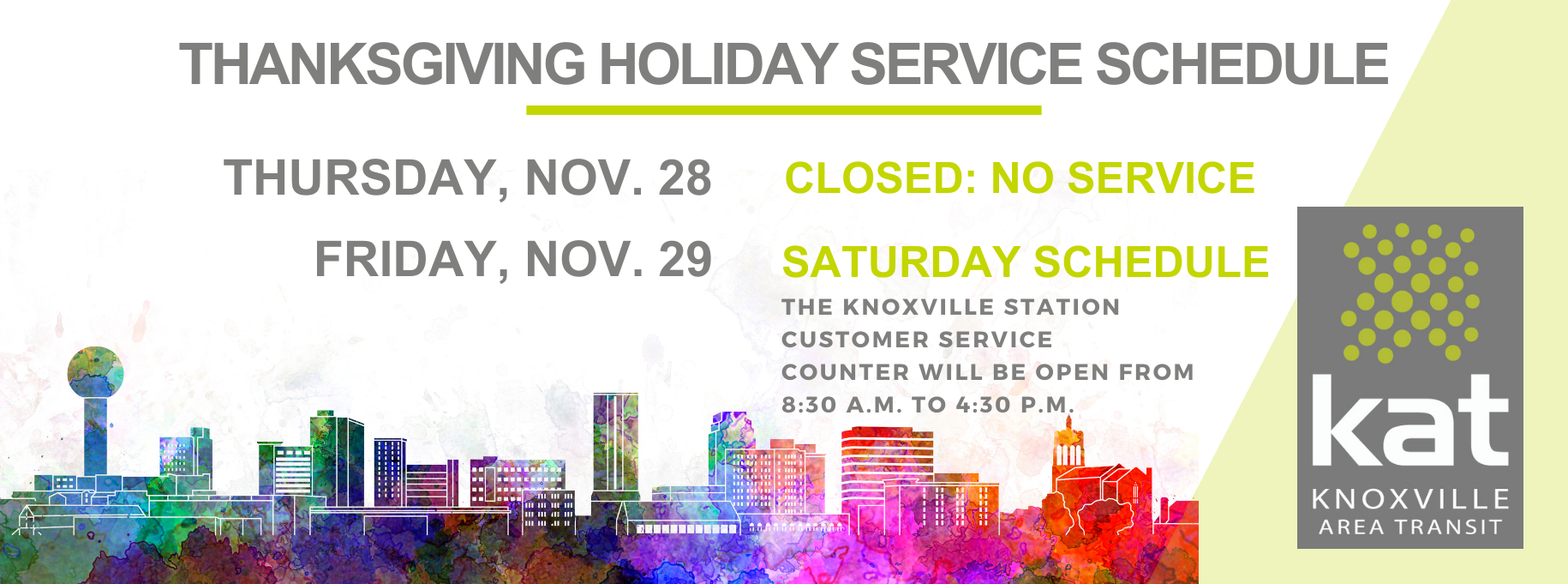 2019 Thanksgiving Holiday Schedule