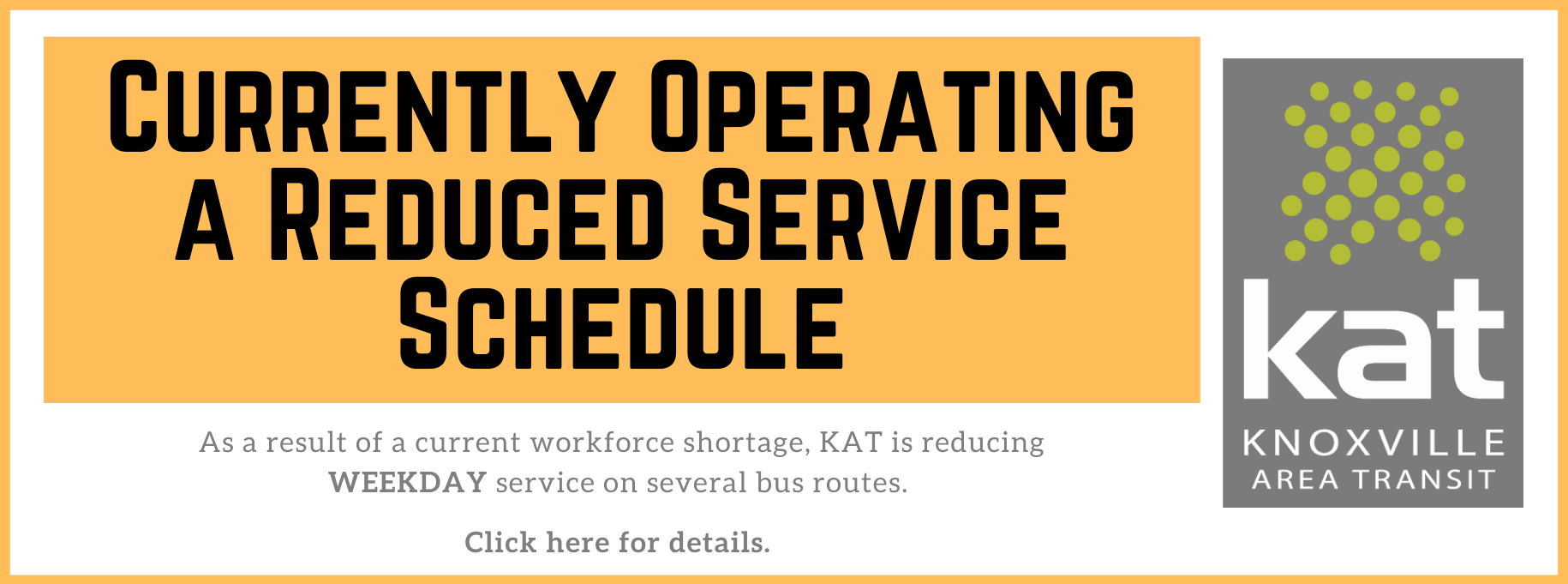 Current Reduced Service Schedule 2020